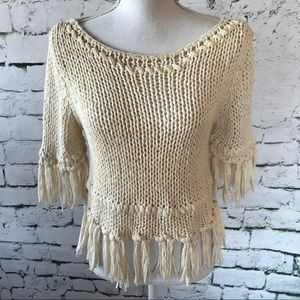Free People On the Fringe Knit Sweater Size S